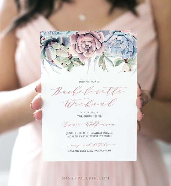 Bachelorette Party Invite and Itinerary, 100% Editable, INSTANT DOWNLOAD, Succulent Bachelorette Invitation Template, Printable #041-116BP