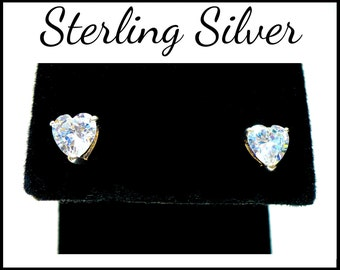 Sterling Silver CZ Heart Earrings, Heart Studs, Pierced Cubic Zirconia Hearts, Bridal Earrings, Anniversary Gift, Mothers Day Gift for Her
