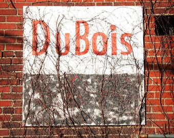 Pennsylvania Photography, City of DuBois Street Art, Urban Brick Wall, Red Gray Black, Modern Historic Industrial