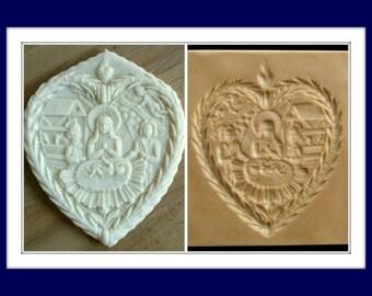 2357 Nativity Heart Cookie Mold - Springerle Mold - Marzipan mold - Nativity Mold - Manger Scene Mold - Paper Casting Mold - Religious Mold