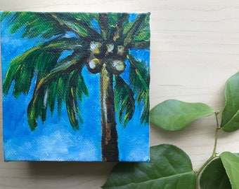 Palm Tree Acrylic Painting, 4x4 painting