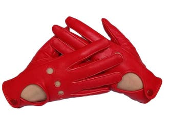 Women's Driving Leather Gloves - Red Sheepskin Gloves for driving