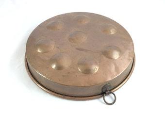 English Copper Pan for Poaching or Danish Pancakes