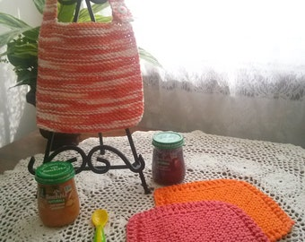 My Little Sunshine Hand Knit Baby Bib and Washcloth Set
