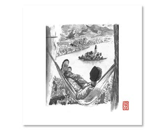 Relaxing / Hammock / Nature / Black and White / Fine Art Print / Giclee / Japanese Ink  / Yokai Illustration