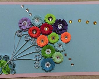 Flower Bubbles Quilled Greeting Card