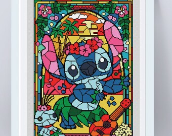 "Disney cross stitch pattern ""Lilo and Stitch"" in pdf. Stained glass cross stitch pattern. Instant download. Counted cross stitch pattern."