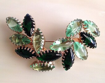 Lovely JULIANA  2 Toned GREEN Marquise Pin Brooch
