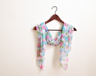 Vintage Floral Sheer Scarf in Pink Blue and Green / Gorgeous Shimmering Scarf / Romantic Roses / Ladies Neck Scarf / Hippie Boho Scarf