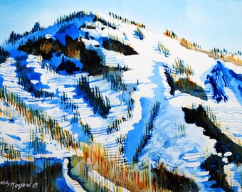 mountain watercolor, mountain painting,mountain watercolor painting, watercolor landscape, mountain wall art, mountain landscape art,