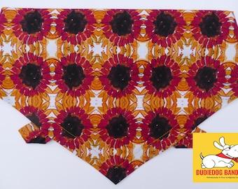 Retro Sunflowers Dog Bandana, Tie on Neckerchief, beautiful premium cotton,  Handmade in the  Yorkshire Dales. Free UK delivery, 7 sizes!