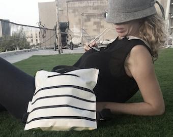 vegan backpack, Black stripes bag, eco friendly backpack, unisex bag, Tyvek bag, gift for him, gift for her, Carry all Bag, Hand printed