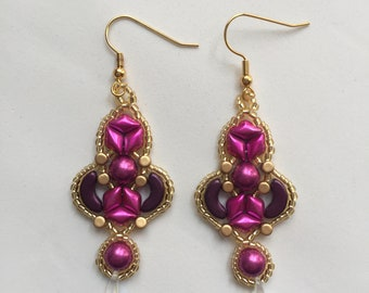 beaded earring pink and purple beaded earrings gold highlights crystal drop beads dangly beaded earrings