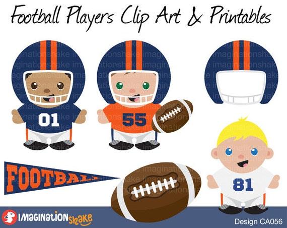 denver broncos football players clip art printables set rh etsy com denver broncos logo clip art Denver Broncos Logo