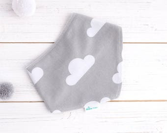 Bandana Dribble Bib - Organic Bamboo & Cotton Drool Bib - Grey Cloud Bib - UK Seller - Modern Baby Bib - Toddler Bib - Scandi Design