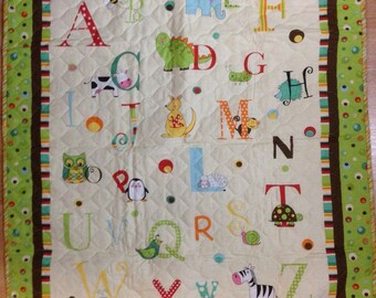 A B C Panel Baby Quilt