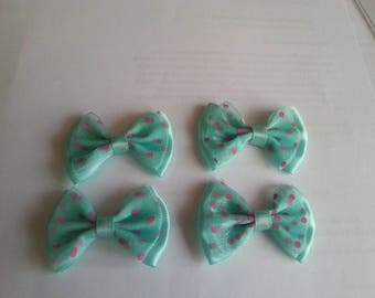 1 set of four bows fabric and tulle