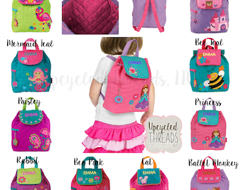 Monogrammed Quilted Backpack, Toddler Backpack, Personalized, Stephen Joseph, Gift For Girls, Personalized backpack, Personalized diaper bag