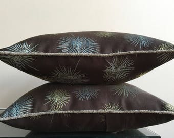 Brown Pillow | Mid Century Pillow | Atomic Starburst | Bead Pillow | Brown and Blue Cushion | Modern Urban Decor | Retro Pillow  | Starburst