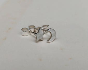 Sterling Silver Tiny Star And Crescent Moon Stud Earrings