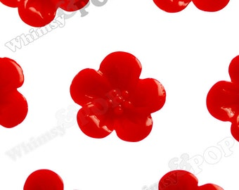 True Red Hibiscus Flower Cabochons, Flower Cabs, Hibiscus Cabochon, Flower Shaped, 13mm x 5mm (R2-043)