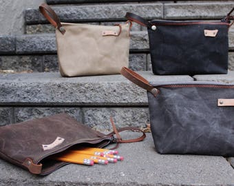 Waxed canvas bag, Pencil Pouch, Makeup Bag, Toilitery Bag,