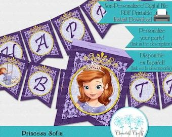 Princess Sofia Inspired Birthday Party Printable Banner