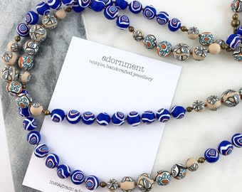 Handcrafted polymer clay long necklace- cobalt blue swirls
