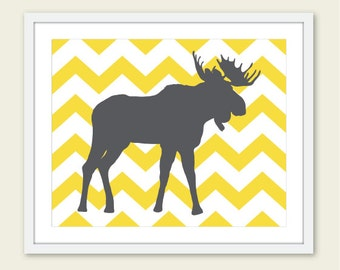 Moose Art Print - Moose Nursery Wall Art - Woodland Moose Print - Modern Moose Wall Art - Yellow and Gray - Chevron Print - Aldari Art