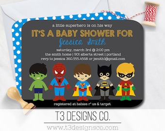 SUPERHERO Baby Shower Invitation,super hero baby shower invitation, super baby, superhero baby shower, super baby shower, baby superheroes