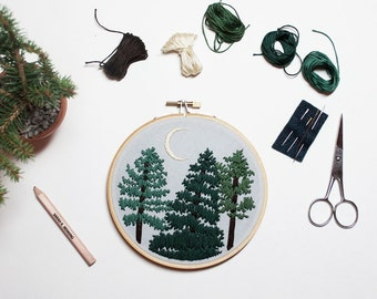 Out of Retirement! - October Pines Contemporary Embroidery Pattern PDF by Sarah K. Benning - #skbdiy
