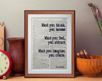 Buddha quote  - dictionary page literary art print home decor present gift books music
