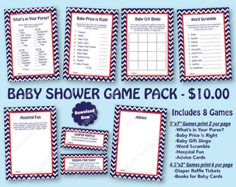 Nautical Baby Shower Game Pack Red Navy -70% OFF- PRINTABLE Baby Shower Games 8 Pack - Navy Blue Red - Nautical Party Diaper Raffle 12-2