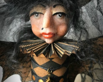 Bat Girl, Halloween Decoration, Halloween Witch, Altered Wooden Spool, Halloween Ornament