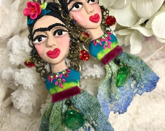 Lilygrace Hand Modelled Blue, Green and Pink Frida Kahlo Bust Earrings with Vintage Rhinestones and Vintage Lace