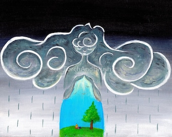Storm Shelter - OOAK Acrylic on Canvas 11 x 14 Original Painting