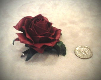 red origami rose hair pin