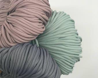 Macrame cord 6 mm, macrame string, 656 ft   craft cord, rug yarn, macrame rope, polyester cord macrame, bulk cord,  yarn for macrame,