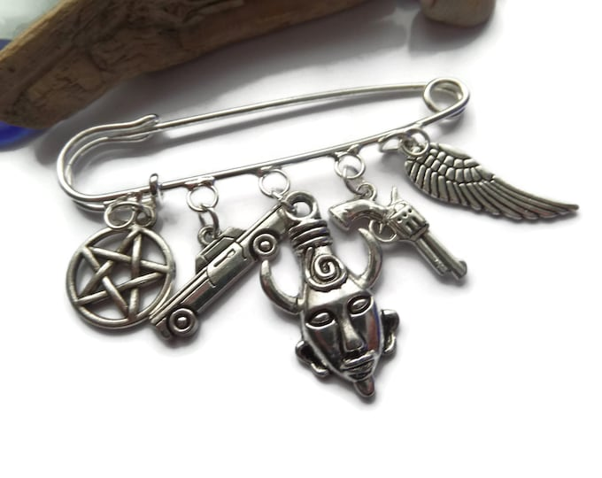 supernatural brooch, supernatural, jewellery, kilt pin brooch, dean winchester, castiel, protection, sam winchester, fan gift, fandom