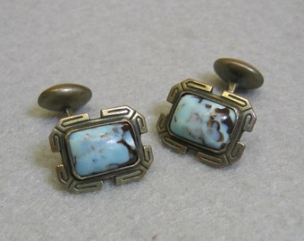 Vintage Art Glass Cuff Links, Silver and Blue, Art Deco
