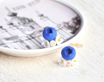 Berry jewelry, berry studs, berry post, berry earrings, berry post earrings, berry polymer clay, botanical berry earrings, nature studs