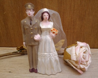 Vintage military wedding cake topper Marine Corps cake