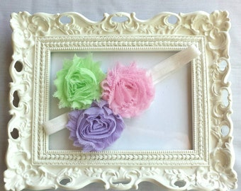 Pink Purple Green, Pastel Headband, Flower Girl Headband, Pastel Pageant Hair bow, Baby Headband, Birthday Gift, Photo Prop, Smash Cake
