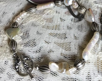 Artisan Jewelry Ooak Freshwater Pearl, Keishi Pearl, Button,Triangular,and Stick Pearls with a Sterling Toggle Bracelet PEARLYPRETTY