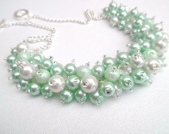 Mint Green and White Pearl Beaded Necklace with Crystals, Bridal Jewelry, Cluster Necklace, Chunky Necklace, Bridesmaid Gift, Custom Colours