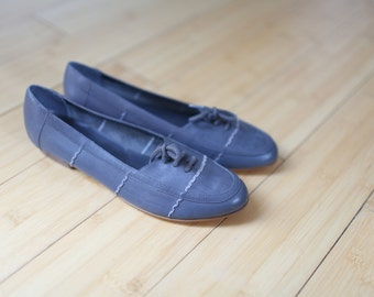 vintage gray woven leather lace up oxfords flats womens 5