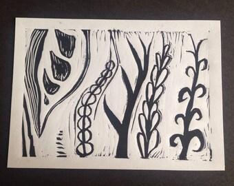 Vines print - black on white // Hand printed original lino art (Plants and nature)