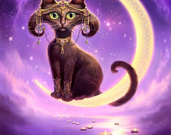Black Cat on Moon // 8 X 10 print // Black Cat Moon // Autumn Black Cat // Crescent Moon Cat // Cat Giclee print // Purple Cat