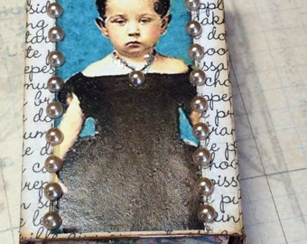 Dark Haired Girl with Pearl Necklace Altered Collaged Matchbox with Drawer