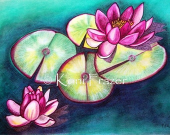 Lotus Flowers, Water Lilies, colorful home decor